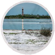 Round Beach Towel featuring the photograph On Anclote Key by Steven Sparks