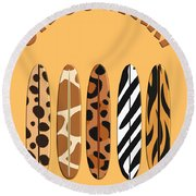 On Surfari Animal Print Surfboards  Round Beach Towel