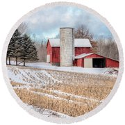 Round Beach Towel featuring the photograph On The Farm by Rod Best