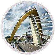 Millennium Bridge In Ourense, Spain Round Beach Towel