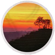Round Beach Towel featuring the photograph On The Viewpoint by Davor Zerjav