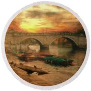 Once More To The Bridge Dear Friends Round Beach Towel