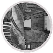 One Side - Staircase At Chambord Castle Round Beach Towel