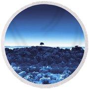 One Tree Hill -blue -2 Round Beach Towel
