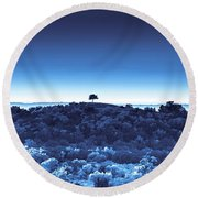 One Tree Hill -blue -2 Round Beach Towel