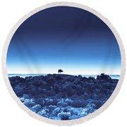 One Tree Hill - Blue 4 Round Beach Towel