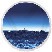 One Tree Hill - Blue 4 Round Beach Towel