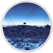 One Tree Hill - Blue Round Beach Towel