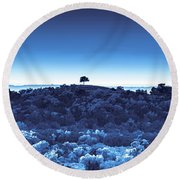 One Tree Hill - Blue Round Beach Towel