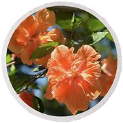 Orange Beauty - Hibiscus Round Beach Towel