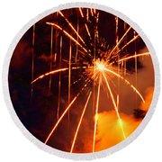 Orange Fireworks Round Beach Towel