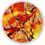 Orange Fall Leaves Round Beach Towel