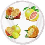 Orange Grapefruit Lemon Watercolor Fruit Illustration Round Beach Towel