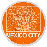 Orange Map Of Mexico City Round Beach Towel