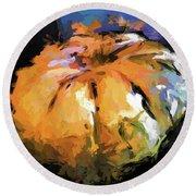 Orange Pumpkin Round Beach Towel