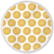 Orange Slice Pattern 1 - Tropical Pattern - Tropical Print - Lemon - Orange - Fruit - Tangerine Round Beach Towel