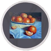 Oranges And Blue Round Beach Towel