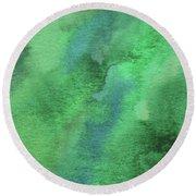 Organic Green Abstract Watercolor Wash Round Beach Towel