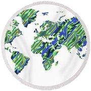 Organic Green Watercolor World Map Round Beach Towel