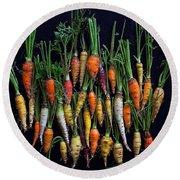 Organic Rainbow Carrots Round Beach Towel