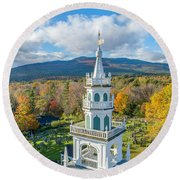 Round Beach Towel featuring the photograph Original Meeting House Jaffrey Nh by Michael Hughes