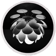 Round Beach Towel featuring the photograph Ornamental Ceiling Light Fixture - Grayscale by Debi Dalio