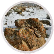 Ornate Colorful Boulders In The Book Cliffs Round Beach Towel