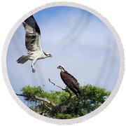Ospreys At Blue Cypress Lake Round Beach Towel