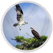 Ospreys At Blue Cypress Lake Round Beach Towel