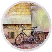 Round Beach Towel featuring the photograph Ostrad Bicycle by Craig J Satterlee