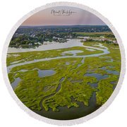 Round Beach Towel featuring the photograph Other Side Winnipaug  by Michael Hughes