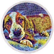 Otis The Potus Basset Hound Dog Art  Round Beach Towel