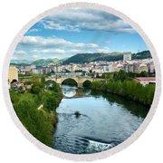 Ourense And The Roman Bridge From The Millennium Bridge Round Beach Towel