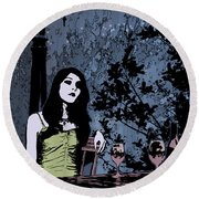 Out At Night Round Beach Towel
