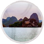 Out To Sea - Halong Bay, Vietnam Round Beach Towel