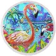 Outdoor Flamingo Party Round Beach Towel
