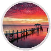 Outer Banks North Carolina Sunset Seascape Photography Duck Nc Round Beach Towel