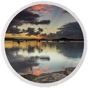 Overcast Waterscape With Hints Of Colour Round Beach Towel