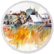 Overlooking The Marsh Grass Round Beach Towel