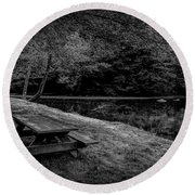 Overlooking The Sugar River Round Beach Towel