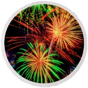 Overwhelmed By Fireworks Round Beach Towel