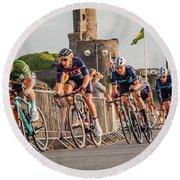 Ovo Energy Cycle Race In Aberystwyth Round Beach Towel