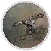 Owl Stretch Round Beach Towel