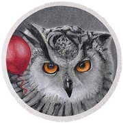 Owl With The Red Balloon Round Beach Towel