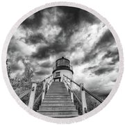 Round Beach Towel featuring the photograph Owls Head Lighthouse In Black And White by Rick Berk