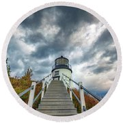 Round Beach Towel featuring the photograph Owls Head Lighthouse by Rick Berk
