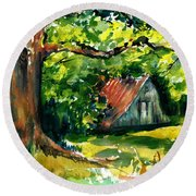 Ozarks Barn In Boxley Valley - Late Summer Round Beach Towel