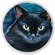 Ozzy Black Cat Painting Round Beach Towel
