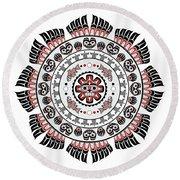 Pacific Northwest Native American Art Mandala Round Beach Towel