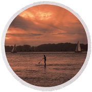 Paddleboarding On The Great Peconic Bay Round Beach Towel